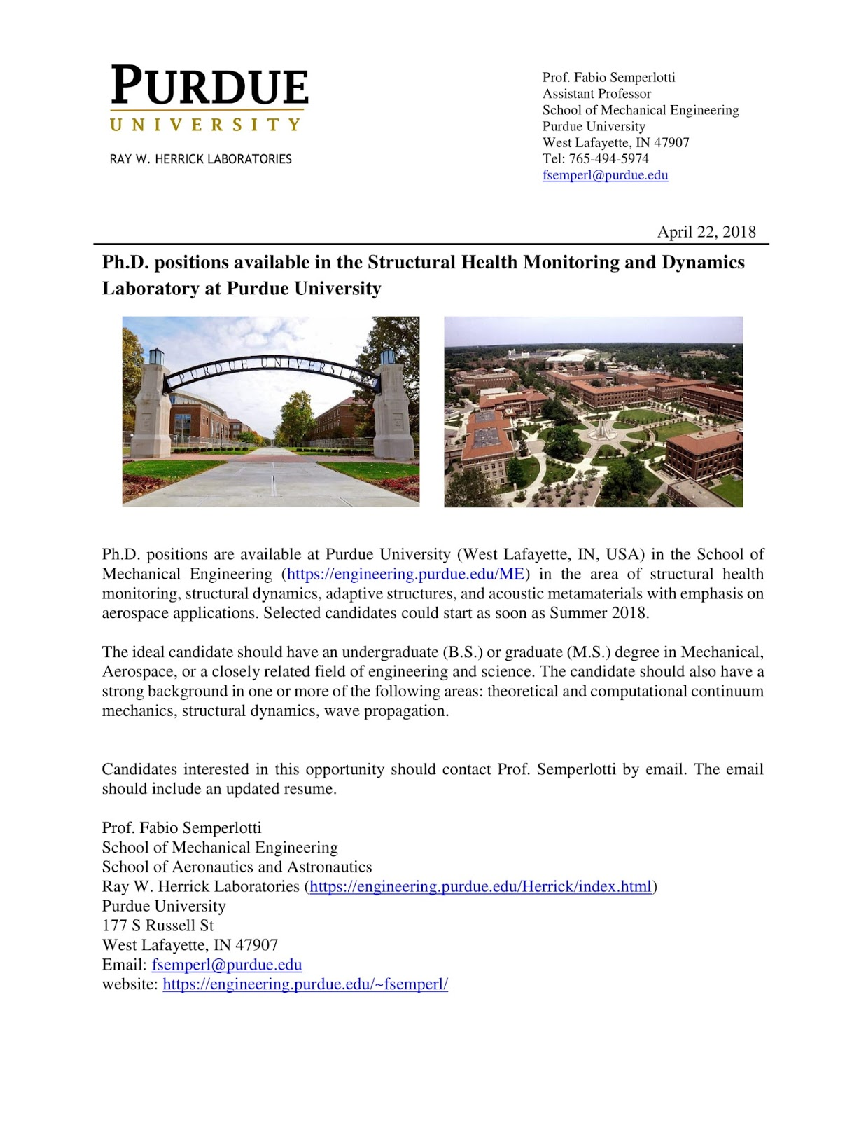 Ph D  Positions Available in the Structural Health