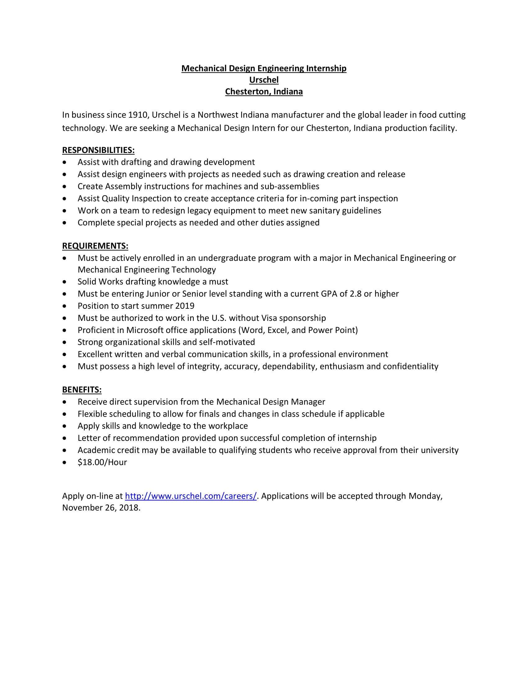 Urschel Design Engineering Internship Apply By 11 26 Undergraduate Blog