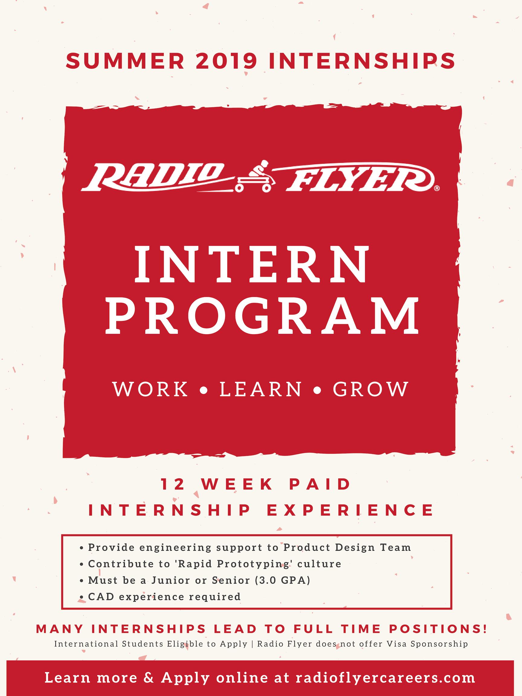 Radio Flyer Internship Summer 2019 – International Students